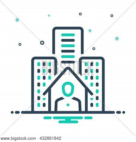 Mix Icon For Resident Inhabitant Denizen Hometown City Building House Residential Architecture