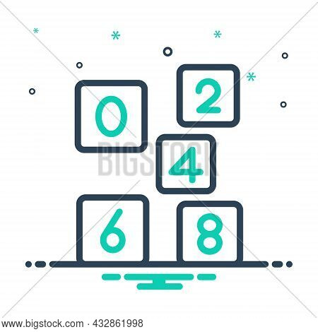 Mix Icon For Even Number Count Digit  Mathematical Calculated Numerical Letter Date