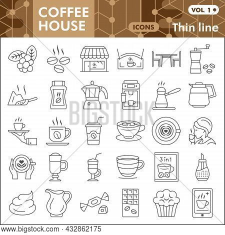 Coffee House Line Icon Set, Catering Business Symbols Collection Or Sketches. Hot Beverage Thin Line