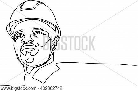 Portrait Of African American Man Architect At Building Site Looking At Camera. Confident Constructio