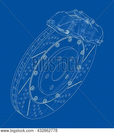 Brake Disc Outline. Vector Rendering Of 3d. Wire-frame Style. The Layers Of Visible And Invisible Li