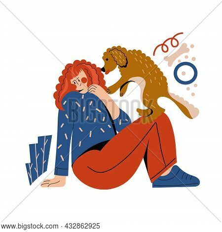 Dog Owner Girl Hug Pet Vector Illustrations.young Woman Cuddle With Companion Puppy. Friendship Betw