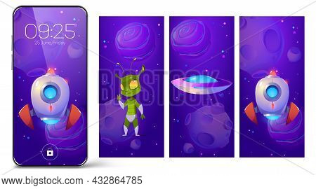 Smartphone Lock Screens With Cartoon Alien, Rocket And Ufo Saucer In Space. Mobile Phone Onboard Pag