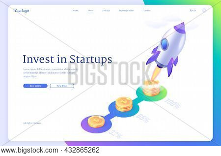 Crowdfunding Isometric Landing Page, Startup Rocket Launching From Golden Coins Runway. Innovative O