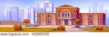 Cityscape With Building Exterior Of University, College, High School Or Public Library. Vector Carto