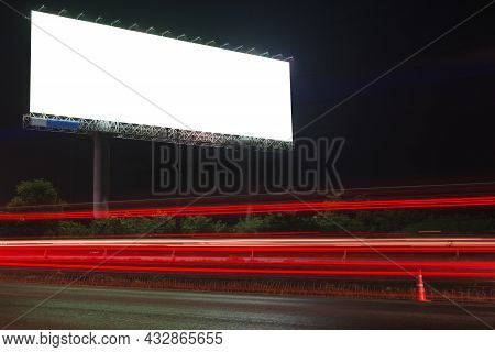 Billboard Or Advertising Poster On Highway In Twilight Time For Advertisement Concept Background