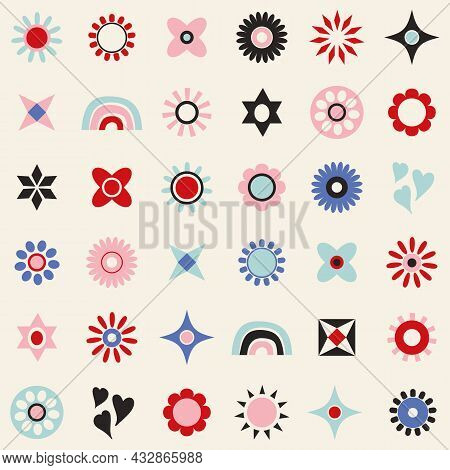 Icon Set Of Symbols, Floral, Sunshine, Hearts, Rainbows And Stars. Flat Modern Vector Stylised Illus