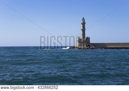 Lighthouse On The Breakwater, Seascape, Landscape, Greece