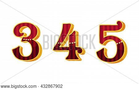 Broadway Style Number And Numeral With Red And Gold Color Vector Set