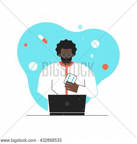 Vector Isolated Flat Concept. Online Medical Consultation And Diagnostic By Doctor Using Video Call