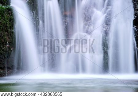 Amazing Landscape Of Beautiful Waterfall On Mountain River With White Foamy Water Falling Down From