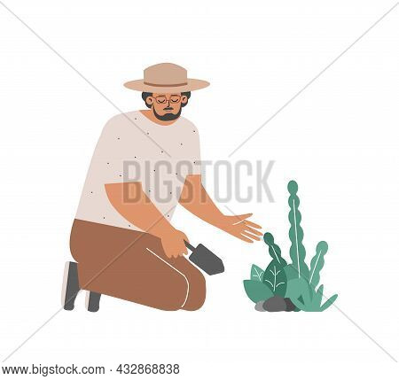 Vector Flat Isolated Concept. Caucasian Man Plants Flowers By Spatula. Smiling Farmer Care For Green