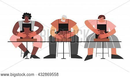 Vector Flat Concept. Workshop In Clay Studio. Adult Group Of People (african American And Latin Wome