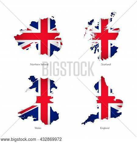 Vector Illustrations With Simplified Maps Of Regions Of United Kingdom Scotland, England, Northern I