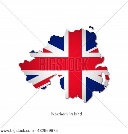 Vector Isolated Illustration With Silhouette Of Northern Ireland United Kingdom Of Great Britain And