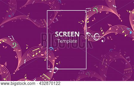 Screen Saver Design Or Web Banner With Music Heart. Valentine Day Design Element. Vector