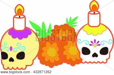 Illustration Of Sugar Skulls For The Day Of The Dead.