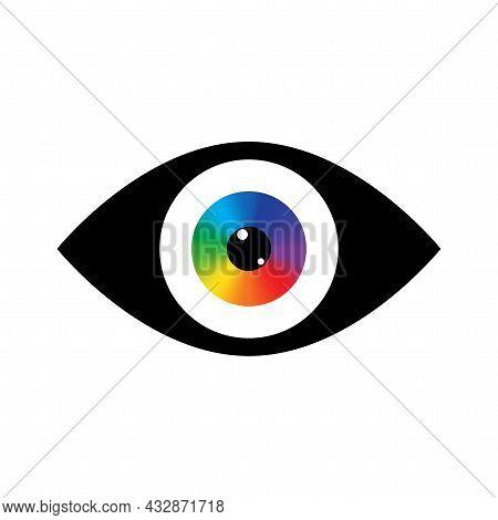 Rainbow Eyeball In Black Eyelid Icon. Design Art Concept. Abstract Background. Vector Illustration.