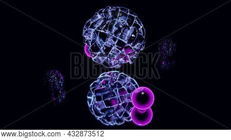 Neon Bubbles In Darkness 4k Uhd 3d Illustration