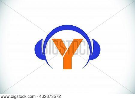 Initial Y Monogram Alphabet With A Headphone. Headphone Logo. Music Sign Symbol. Font Emblem. Design
