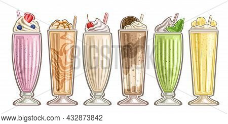 Vector Milkshake Set, Group Of Cut Out Illustrations Assorted Milkshakes With Soft Serve Ice Cream A