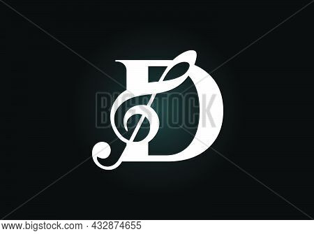 Initial D Monogram Alphabet With A Musical Note. Symphony Or Melody Signs. Musical Sign Symbol. Font