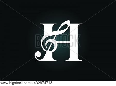 Initial H Monogram Alphabet With A Musical Note. Symphony Or Melody Signs. Musical Sign Symbol. Font
