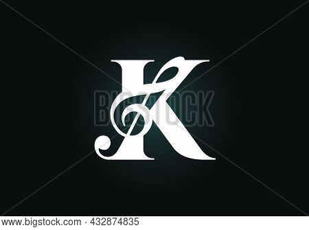 Initial K Monogram Alphabet With A Musical Note. Symphony Or Melody Signs. Musical Sign Symbol. Font
