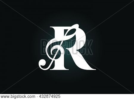 Initial R Monogram Alphabet With A Musical Note. Symphony Or Melody Signs. Musical Sign Symbol. Font
