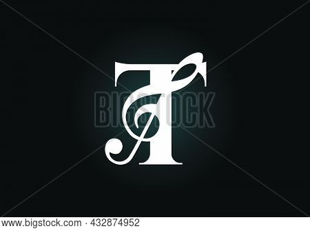 Initial T Monogram Alphabet With A Musical Note. Symphony Or Melody Signs. Musical Sign Symbol. Font