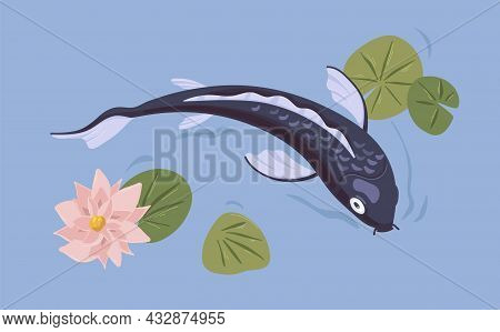 Japanese Koi Fish Swimming In Asian Pond With Flower. Decorative Carp In Japan Water Garden. Traditi
