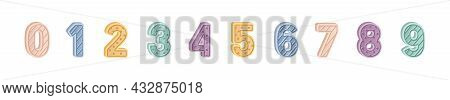 Cute Childish Numbers Set. Fun Numeral Font For Kids. 1, 2, 3 Signs For Counting, And Nursery, Kinde