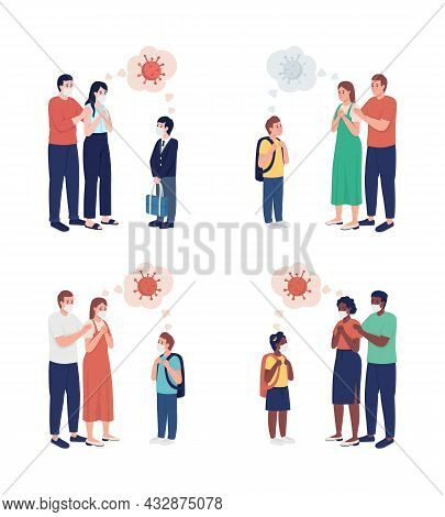 Parents Anxious About Coronavirus Semi Flat Color Vector Character. Family Figure. Full Body People