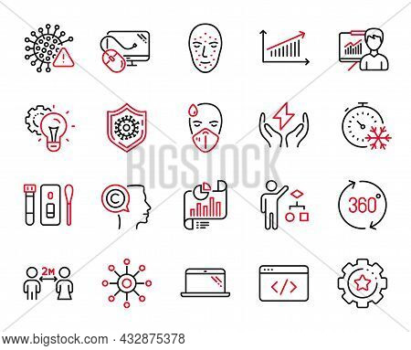 Vector Set Of Science Icons Related To Face Biometrics, Settings Gear And Covid Virus Icons. Multich