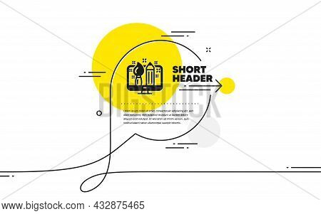 Creative Design Icon. Continuous Line Chat Bubble Banner. Graphic Designer Sign. Brush And Pencil Sy