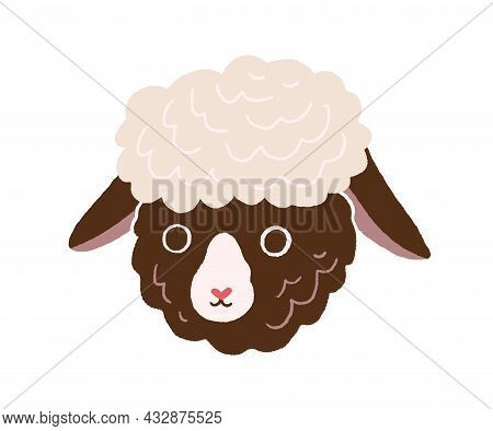 Cute Little Sheep Face. Head Portrait Of Funny Domestic Lamb In Doodle Style. Baby Animal Muzzle. Ad