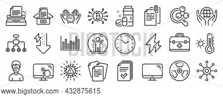 Set Of Science Icons, Such As Chemistry Lab, Time, Documents Box Icons. Chemical Hazard, Touch Scree