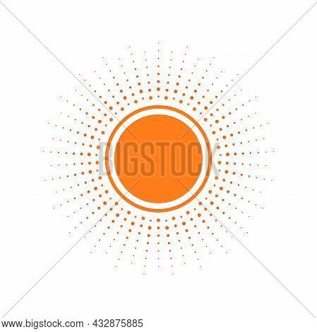 Red Light Rays Frame With Dots. Shine Burst Background. Radiant Spark. Vector Illustration. Sun Beam