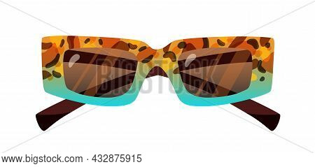Fashion Rectangular Sunglasses With Thick Frame. Stylish Retro Sun Glasses With Rectangle Lenses And