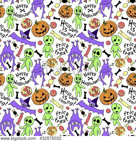 Happy Halloween-seamless Pattern With Set Of Icons-pumpkin, Jack Lantern, Zombie, Bat, Candy. Funny