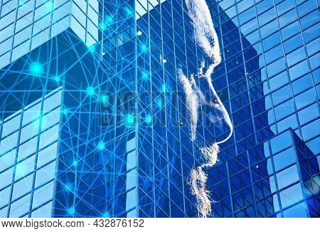 double exposure of man head and skyscrapers windows man trapped in a business world