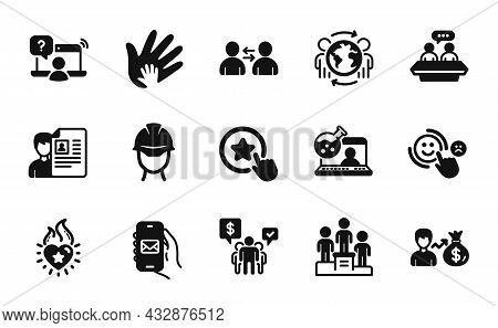 Vector Set Of Sallary, Mail App And Communication Icons Simple Set. Heart Flame, Online Chemistry An