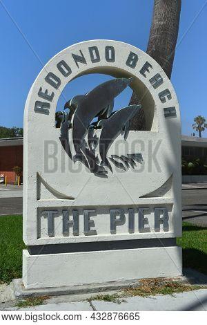 REDONDO BEACH, CALIFORNIA - 10 SEP 2021: The Pier sign in Redondo Beach at Catalina Avenue and Esplanade.