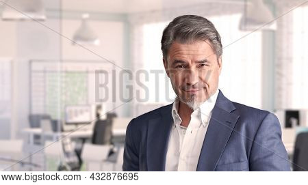 Confident businessman smiling in modern business office. Portrait of mature age, middle age, mid adult man in 50s, happy confident smile. Copy space.
