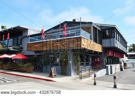 REDONDO BEACH, CALIFORNIA - 10 SEP 2021: R10 Social House, a Woodsy-chic, waterfront gastropub in the Redondo Beach Harbor.
