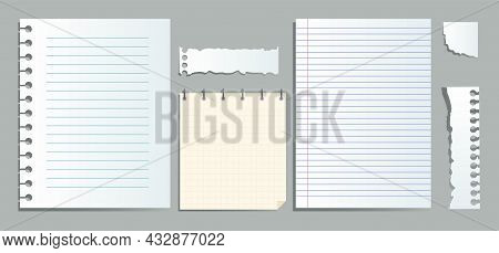 Realistic Lined Notepapers. Pieces Of Paper For Notes. Goal Setting Every Day, Selfimprovement. Coll