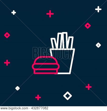 Line Burger And French Fries In Carton Package Box Icon Isolated On Blue Background. Hamburger, Chee