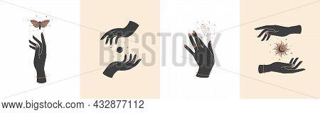 Set Of Magic Hands With Celestial Mystical Symbols. Spiritual Boho Logo, Design Elements With Crysta