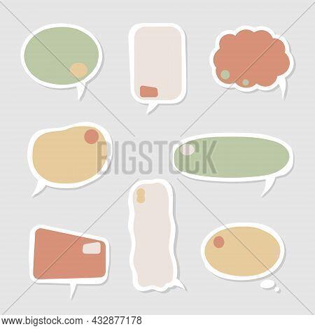 Collection Set Of Hand Drawn Frame Border, Blank Speech Bubble Balloon, Think, Speak, Talk, Text Box