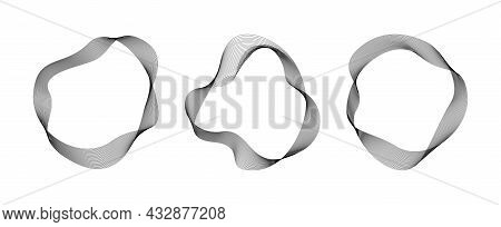 Abstract Flowing Wavy Lines Circle Ring Black Color. Digital Round Frequency Track And Voice Equaliz